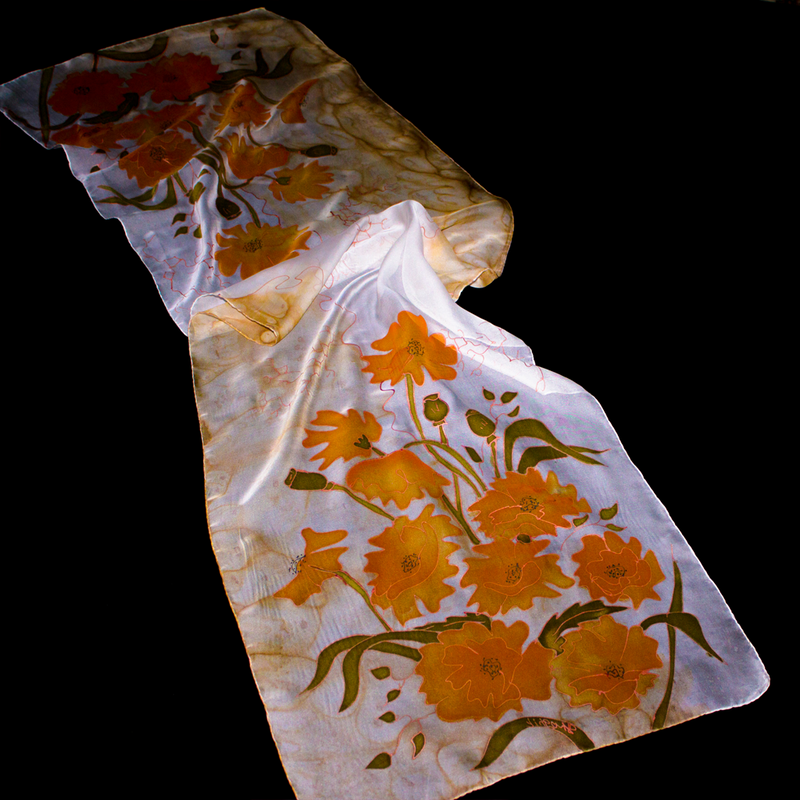 Armenian Handmade Batik Scarf - Orange Flowers