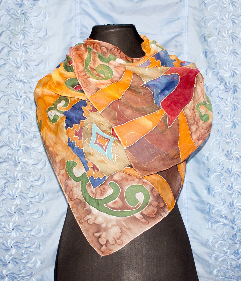 Armenian Handmade Silk Scarf - Old Pitcher. Abstraction