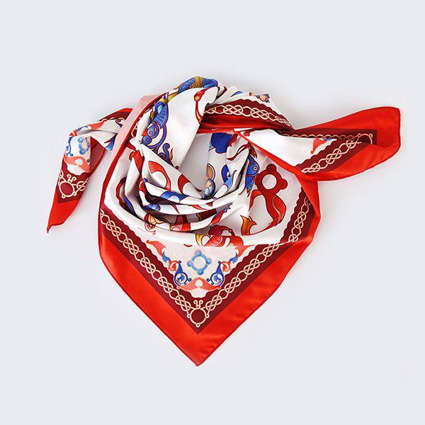 Ayb Scarf - White - Red