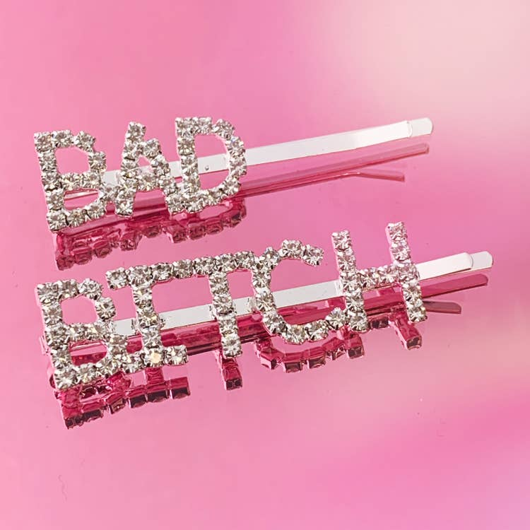 Bad Bitch Rhinestone Bobby Pin Set