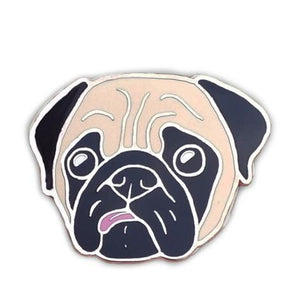 Concerned Pug Enamel Pin (Fawn)