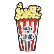 Load image into Gallery viewer, Enjoy the Shit Show Popcorn Enamel Pin