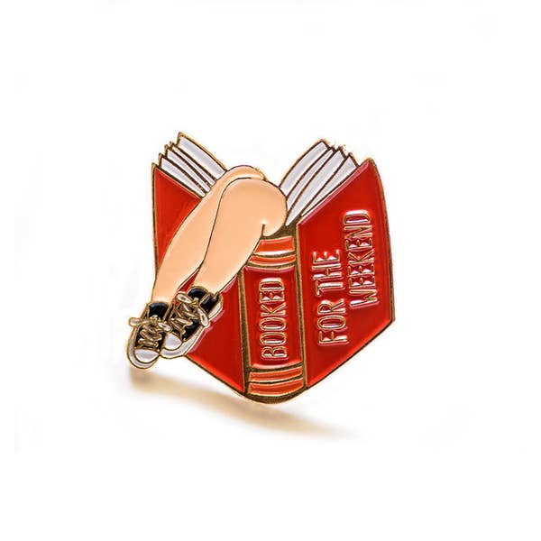 Booked for the Weekend Enamel Pin (Red)