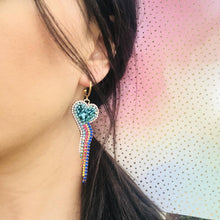 Load image into Gallery viewer, Rainbow Heart Statement Earrings