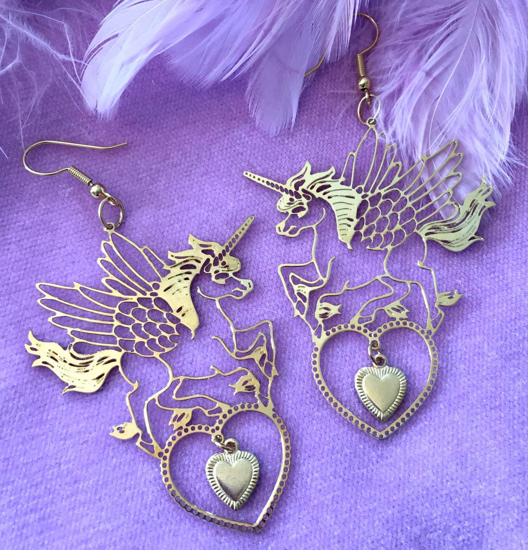 Unicorn Pegasus Statement Earrings