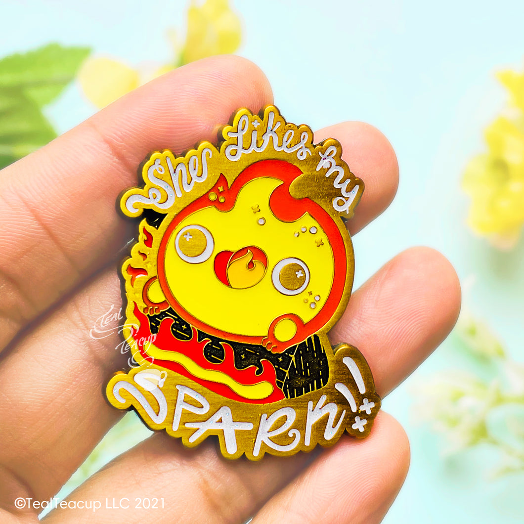 Calcifer She Likes My Spark Enamel Pin