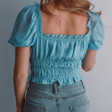 Load image into Gallery viewer, Blue puff short sleeve crop top with a drawstring centre and shirred waist