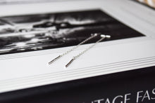 Load image into Gallery viewer, Tiny dainty long thread through silver earrings