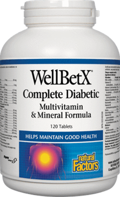 Natural Factors - WellBetX Complete Diabetic Multivitamin & Mineral Formula 120 Tablets