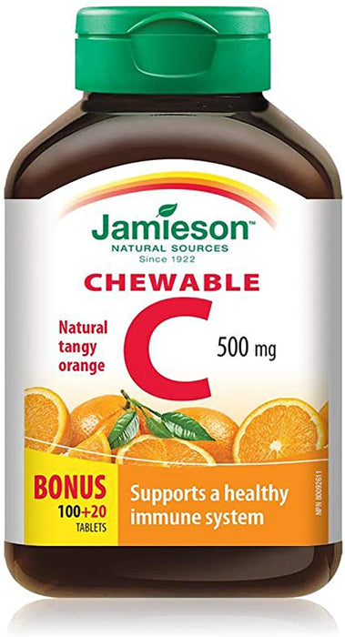 Jamieson Natural Sources - Vitamin C tablets (Tangy Orange Flavour) 100+20 Tablets