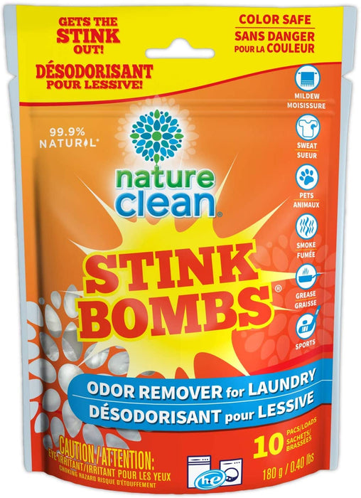 Nature Clean Stink Bombs Odor Remover for Laundry 10 Pack