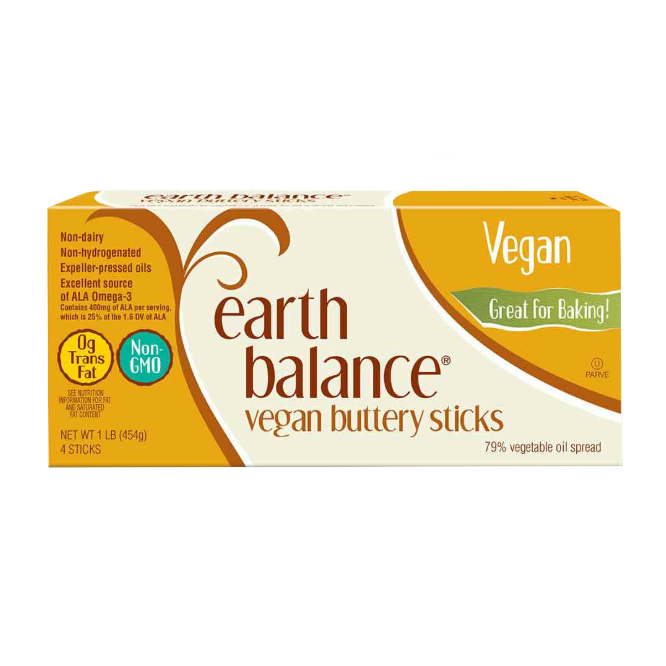 Earth Balance Vegan Buttery Cooking & Baking Sticks (4 Sticks) 454g