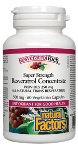 Natural Factors - Resveratrol Rich Super Strength Resveratrol Concentrate 250mg 60 Vegecaps