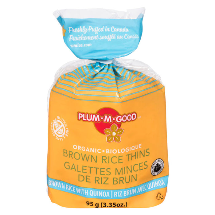 Plum-M-Good Brown Rice Thins - Organic, Gluten Free - Brown Rice with Quinoa 95g
