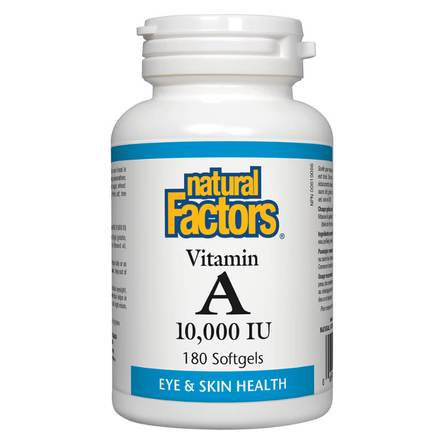 Natural Factors - Vitamin A 10,000 IU (for eye and skin health) 180 Softgels
