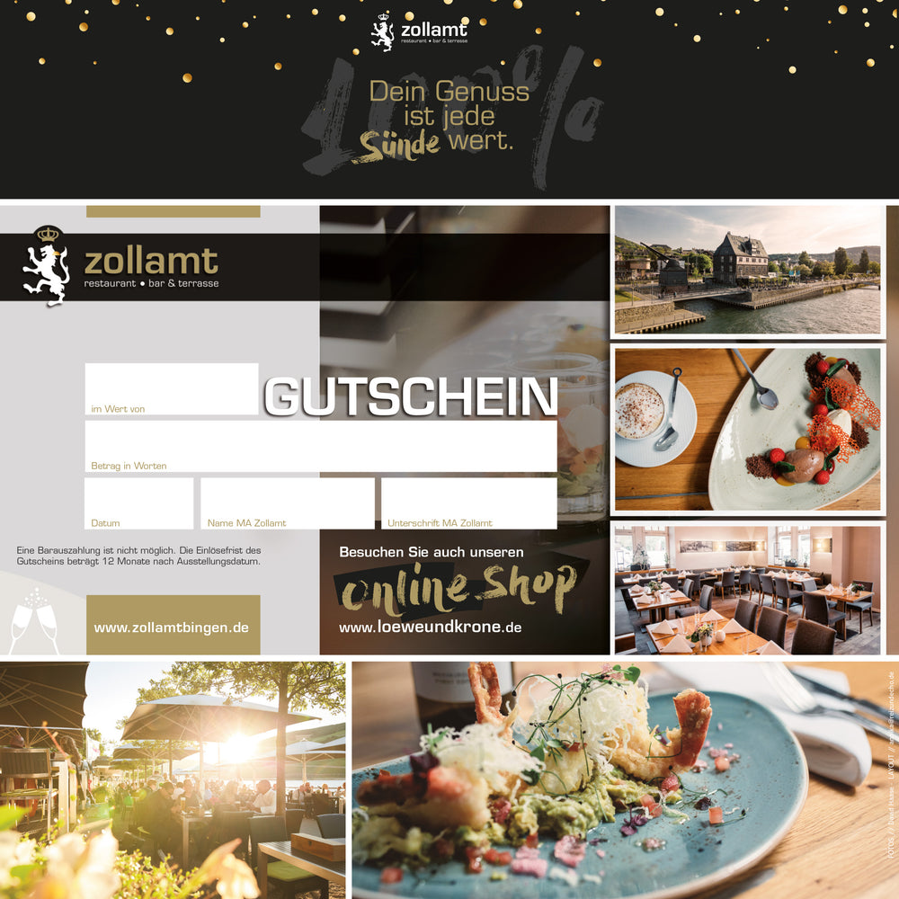 Laden Sie das Bild in den Galerie-Viewer, Neutral - Zollamt Restaurant Gutschein