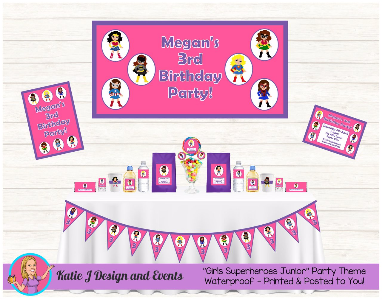 Girls Superheroes Party Decorations Supplies