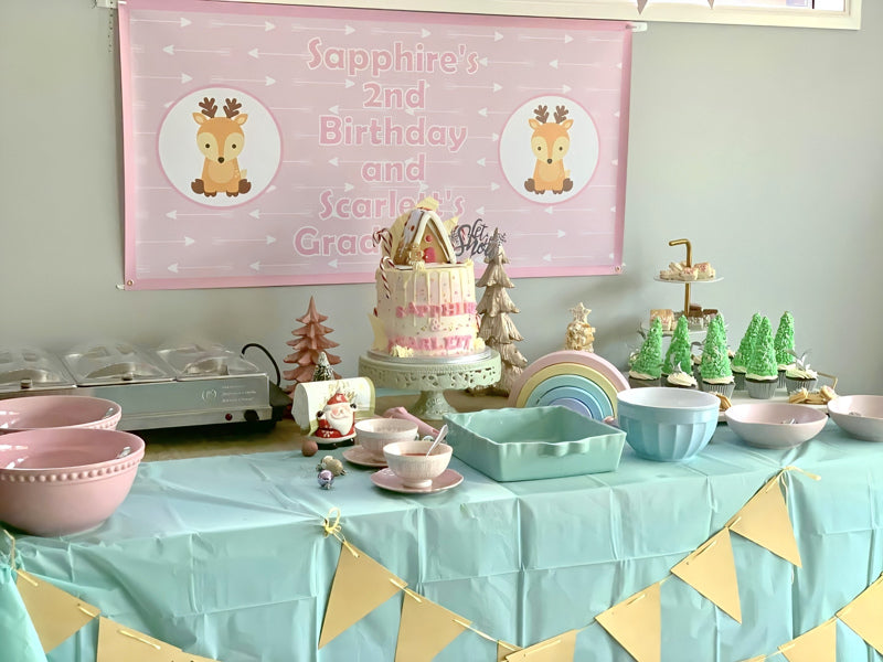 Baby Deer Birthday Party Cake Table