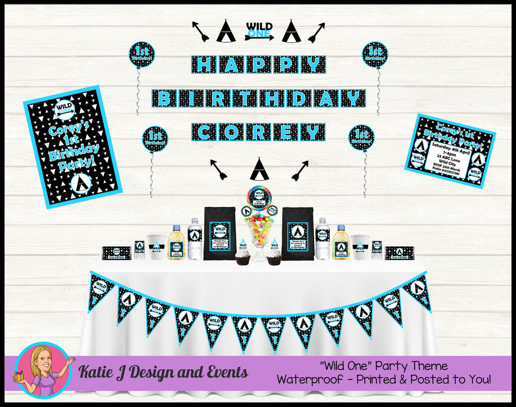 Wild One Personalised Party Decorations Supplies