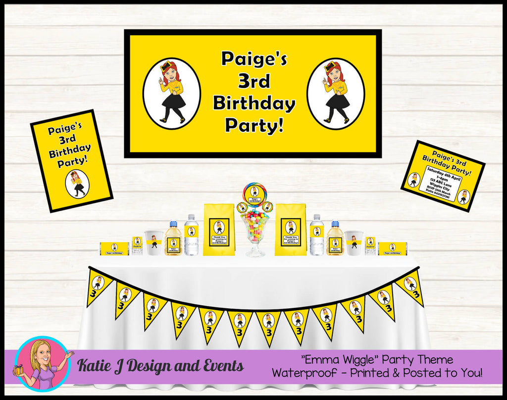 Black Yellow Emma Wiggle Party Decorations Supplies