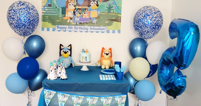 Boys Bluey Birthday Cake Table
