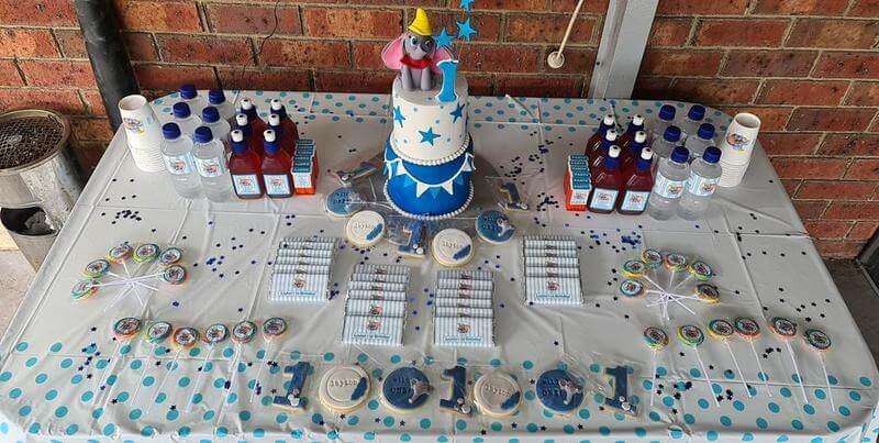 Boys Dumbo Birthday Party Cake table