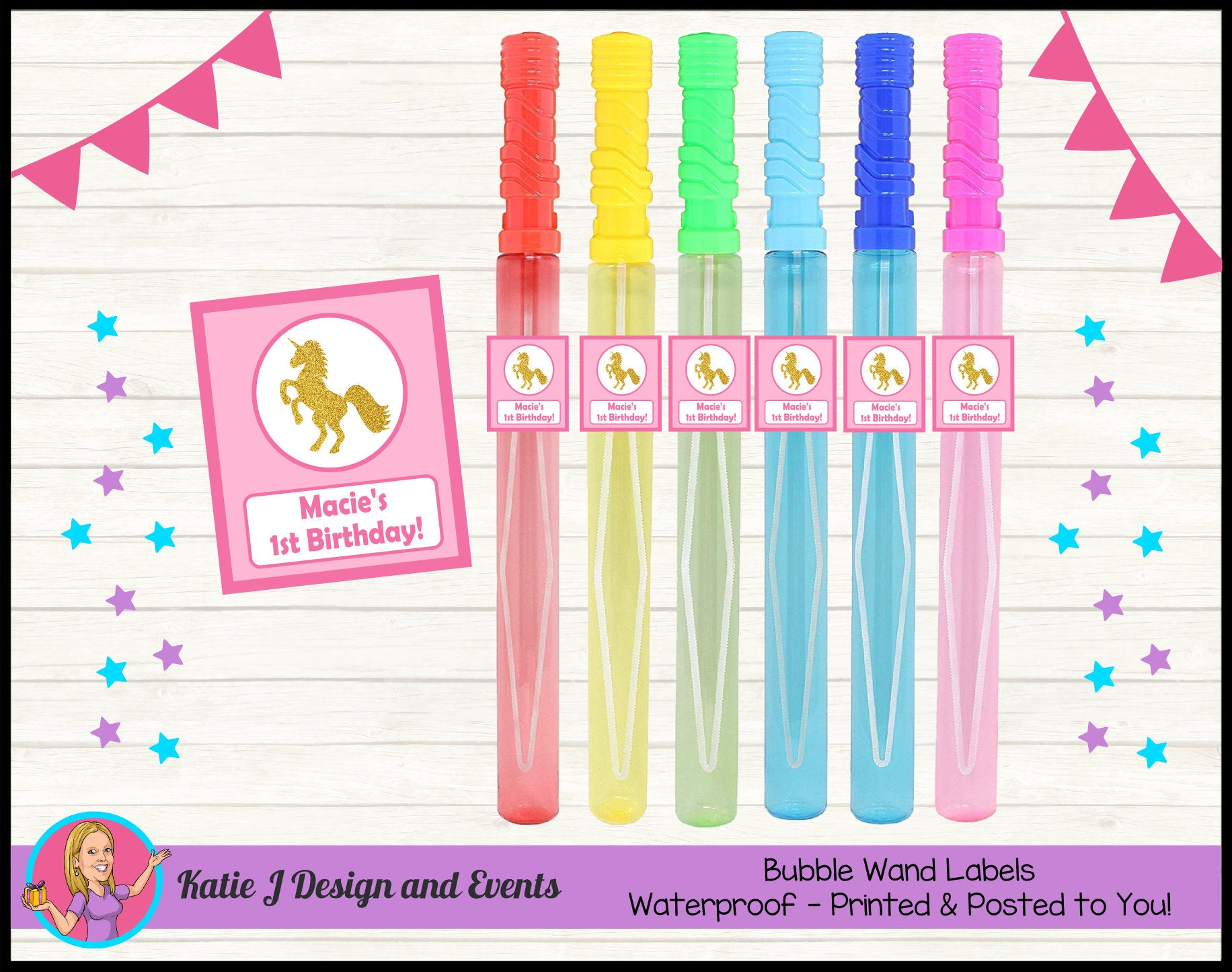 Personalised Custom Party Bubble Wand Labels