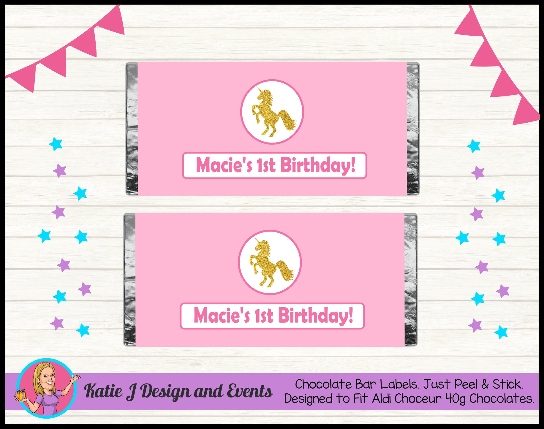 Personalised Custom Party Chocolate Labels Wrappers