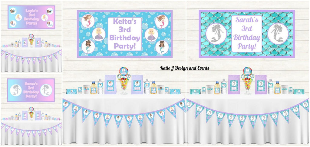 Personalised Mermaid Party Decorations Supplies
