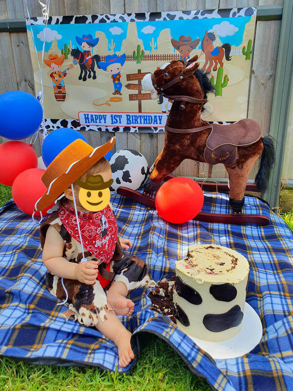 Cowboy Birthday Party Cake Smash