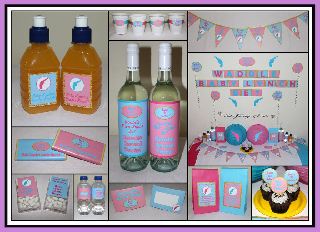 Baby Gender Reveal Guns or Glitter Party Decorations Ideas Photos Setup