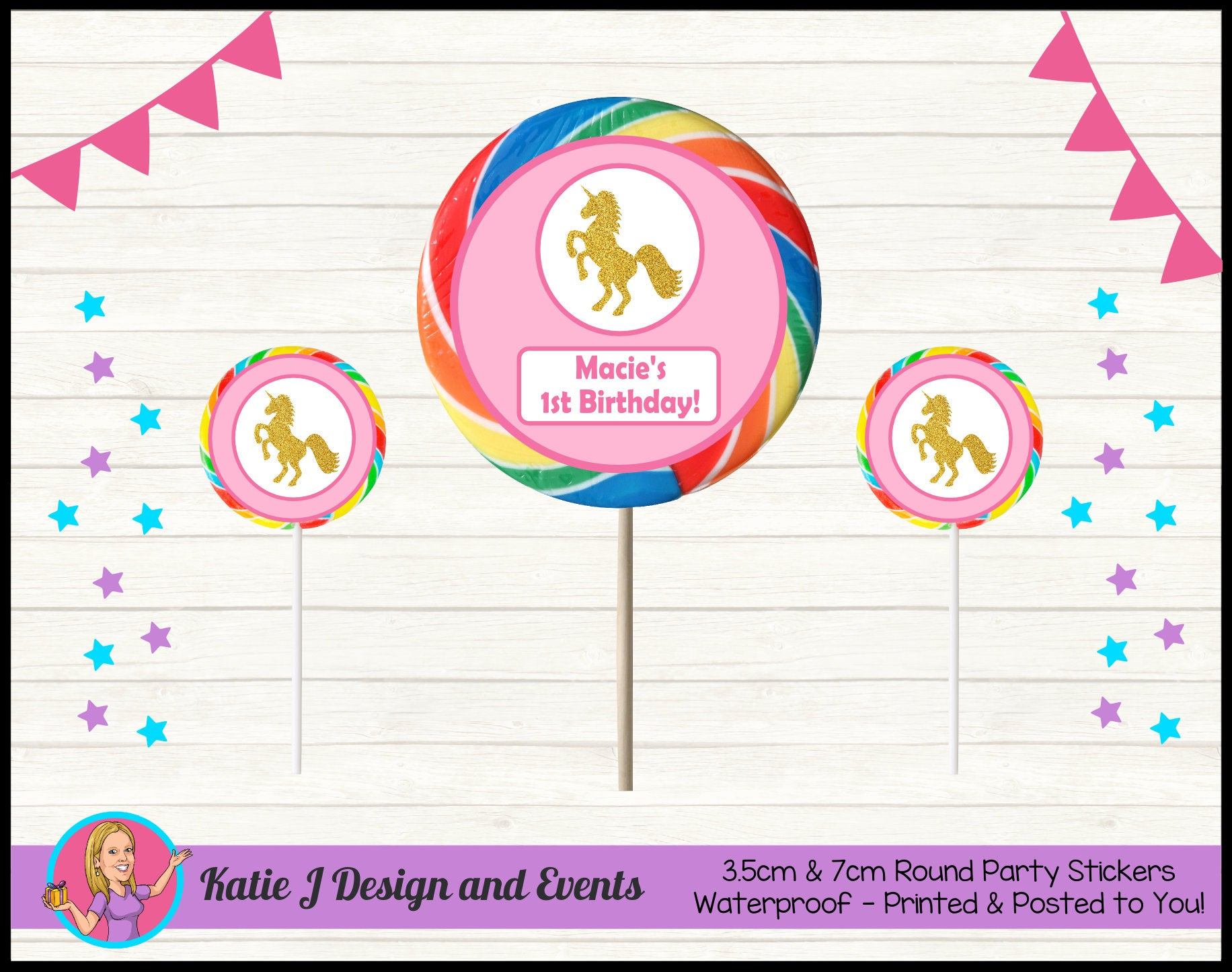 Personalised Custom Round Party Lollipop Stickers