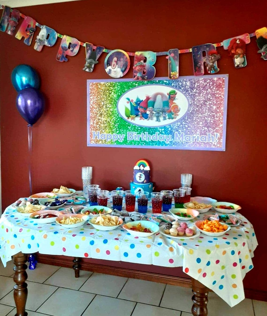 Glitter Trolls Birthday Party Photos Decorations