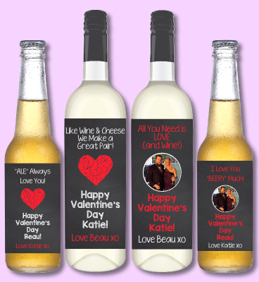 Valentines Day Gift Wine & Beer Labels