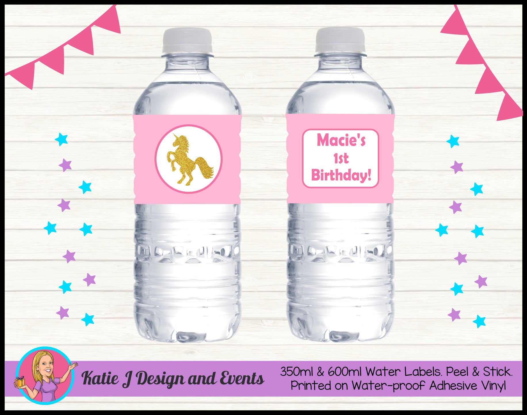 Personalised Custom Party Water Bottle Labels
