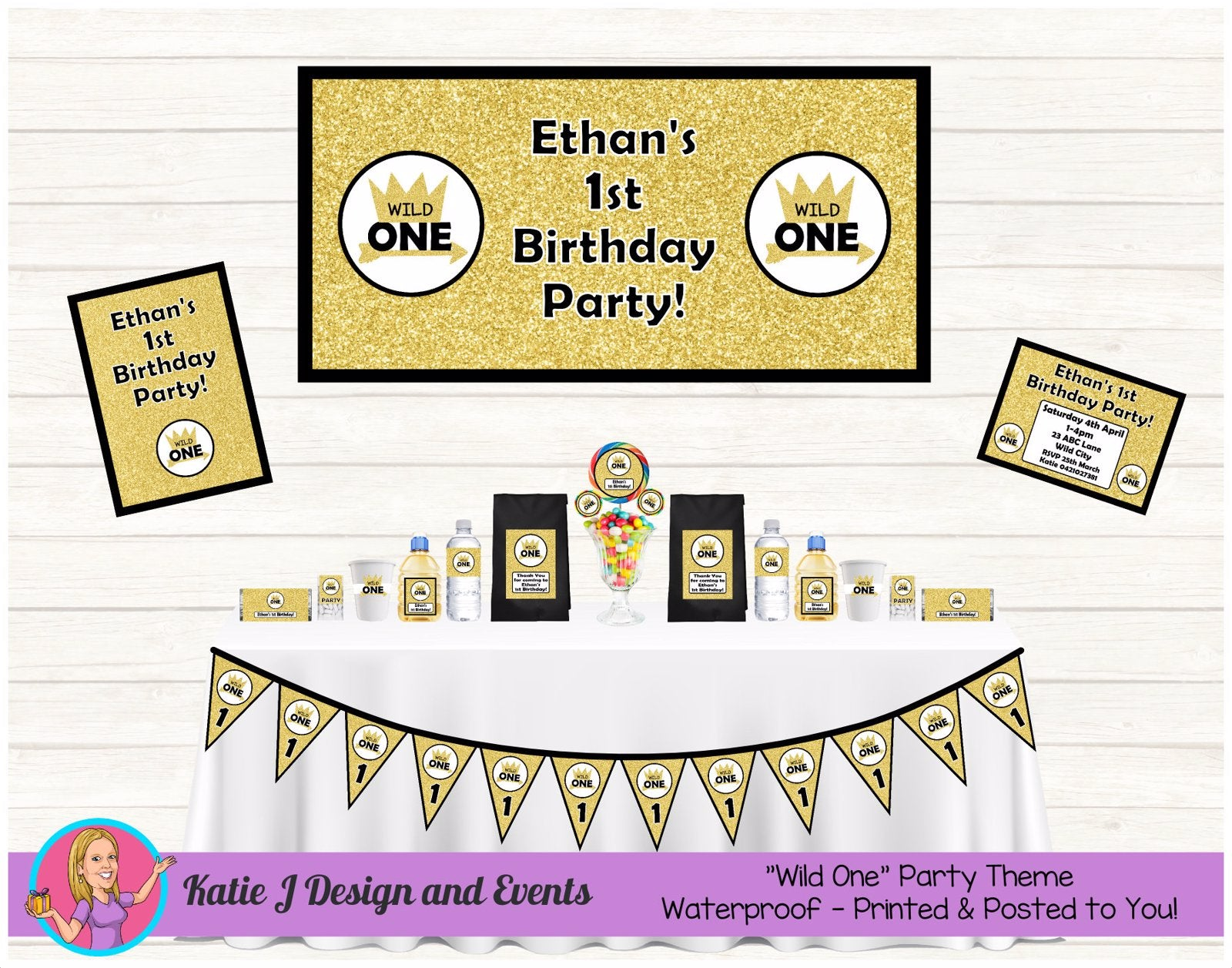 Black & Gold Wild One Party Decorations Supplies