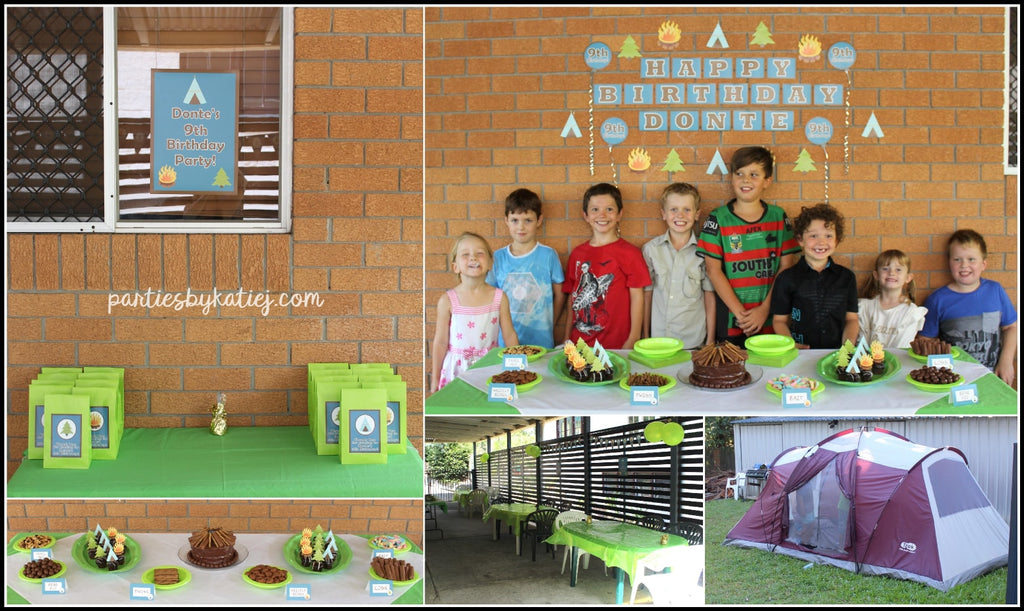 Camp Out Camping themed Birthday Party Photos DIY setup party area