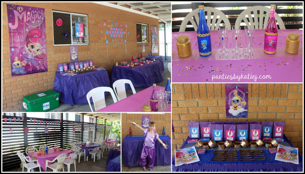 Shimmer and Shine Birthday Party Setup Party Area Cake Table Photo Ideas