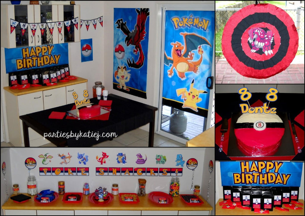 Pokemon Birthday Party Area Setup DIY Cake Pinata