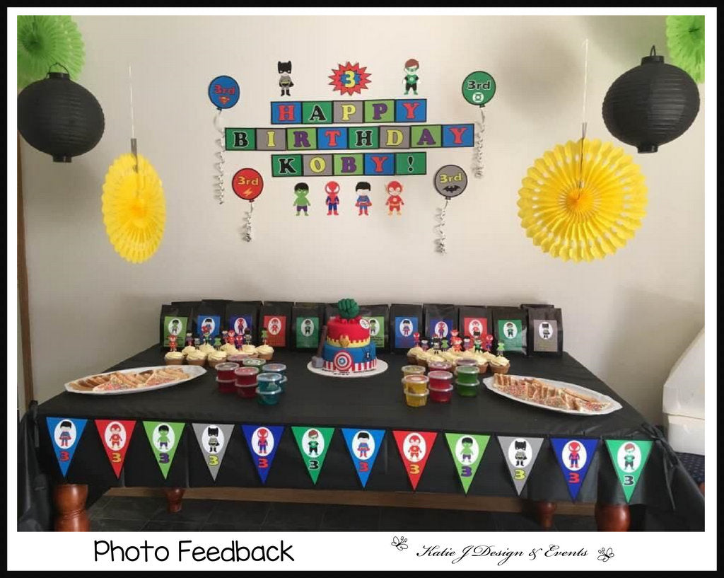 Boys Superheroes Personalised Party Decorations