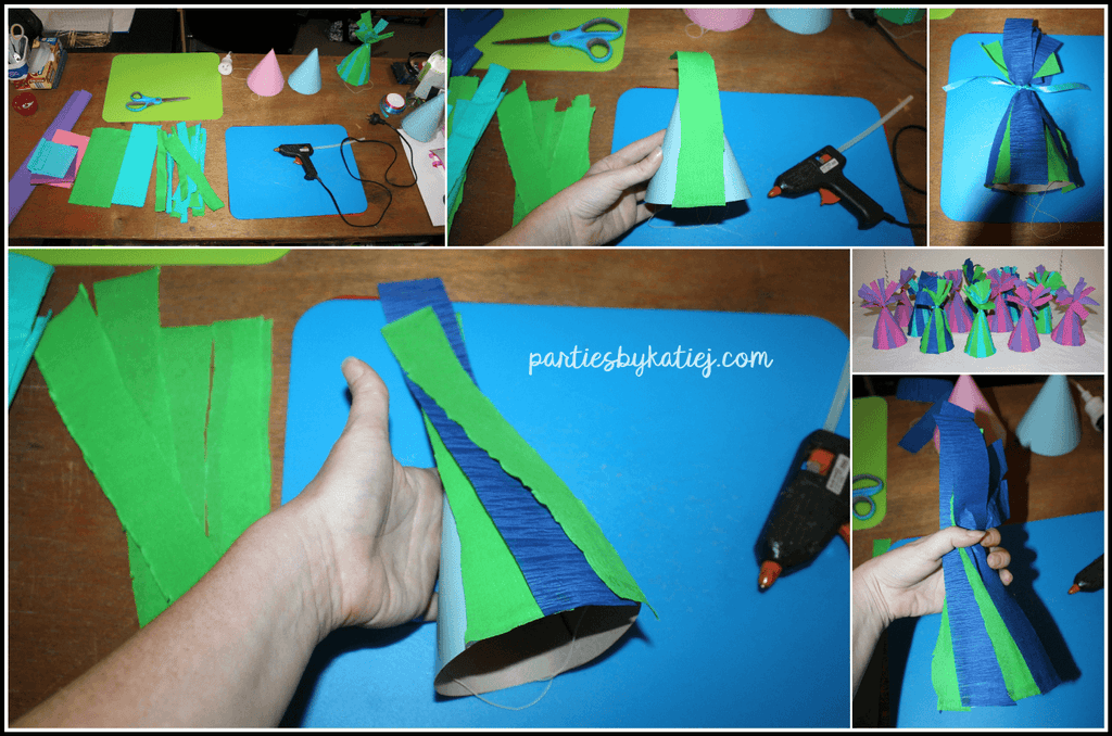 Trolls Party Hats DIY Step by Step Photos