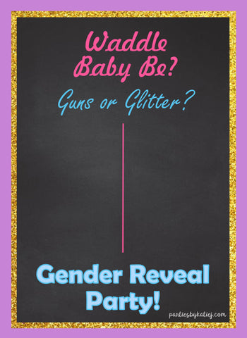 Baby Gender Reveal Party Free Printable Party Game Guns or Glitter