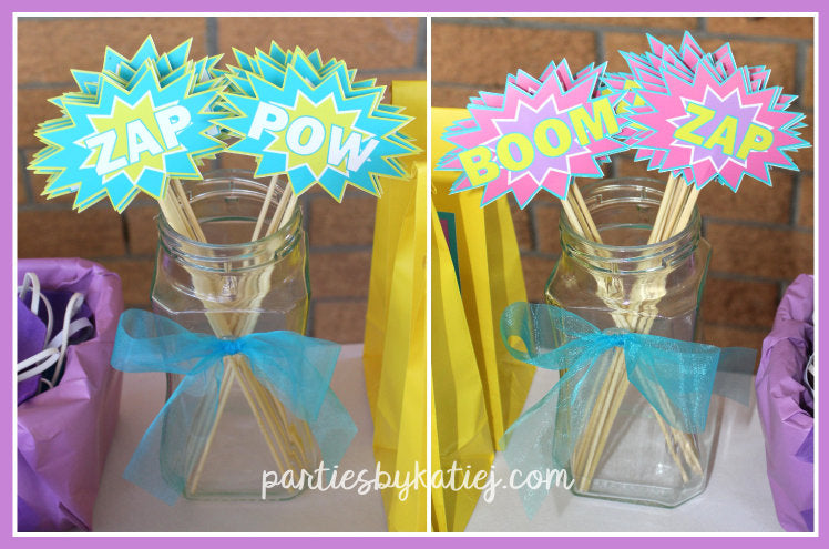 Girls Super Hero Party DIY Wands Favours