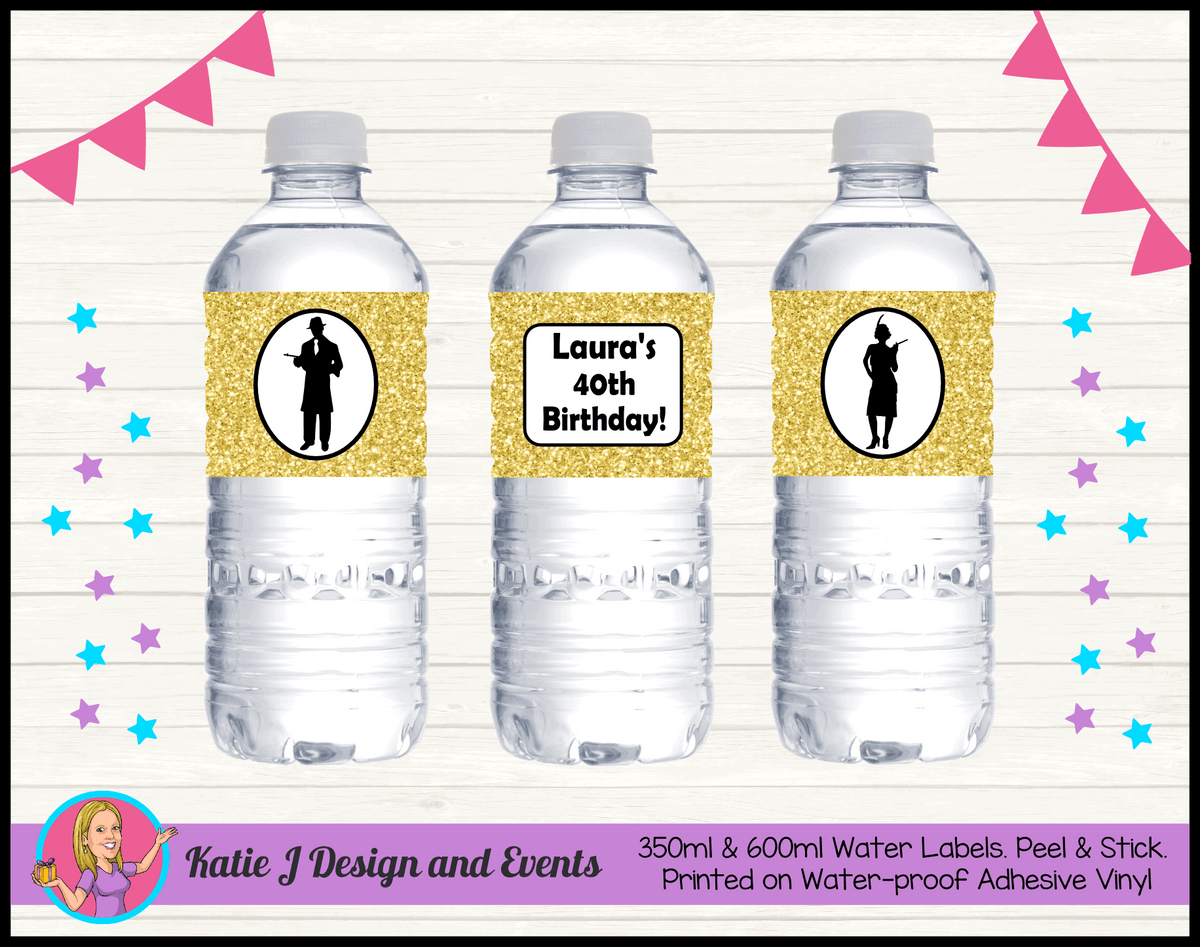 1920s Gangster Black Gold Personalised Birthday Party Water Bottle Labels