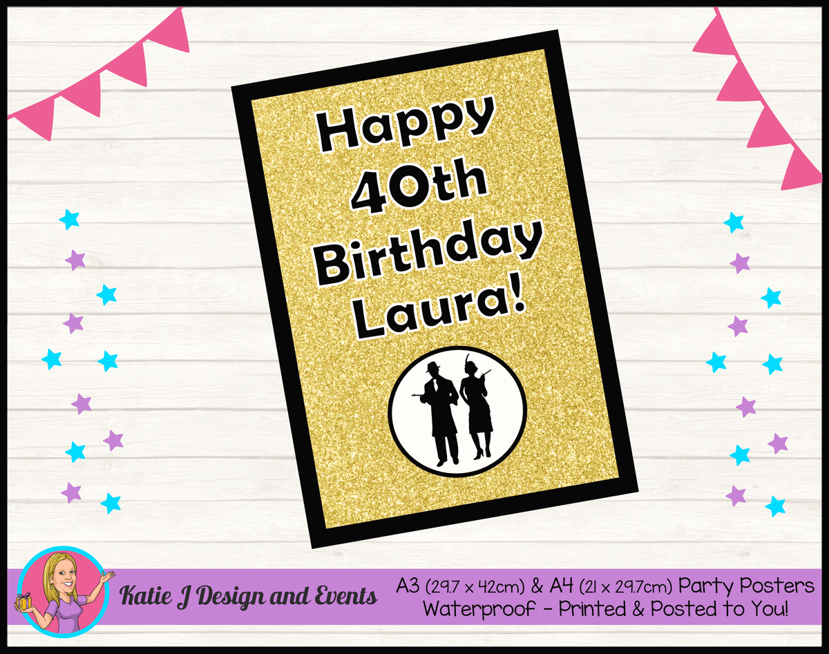 1920s Gangster Black Gold Personalised Birthday Party Posters