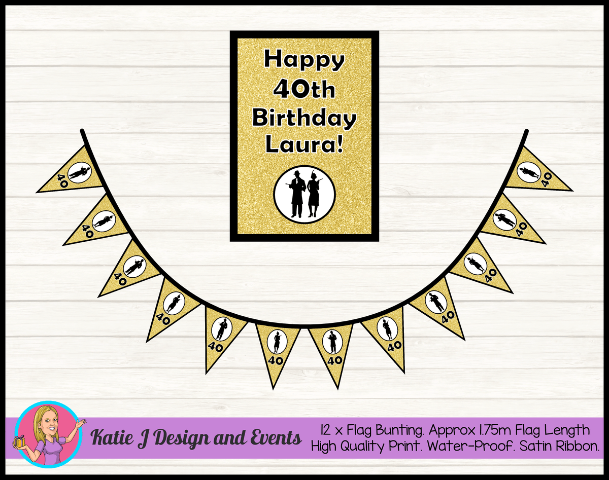 1920s Gangster Black Gold Personalised Birthday Party Poster Bunting Combo