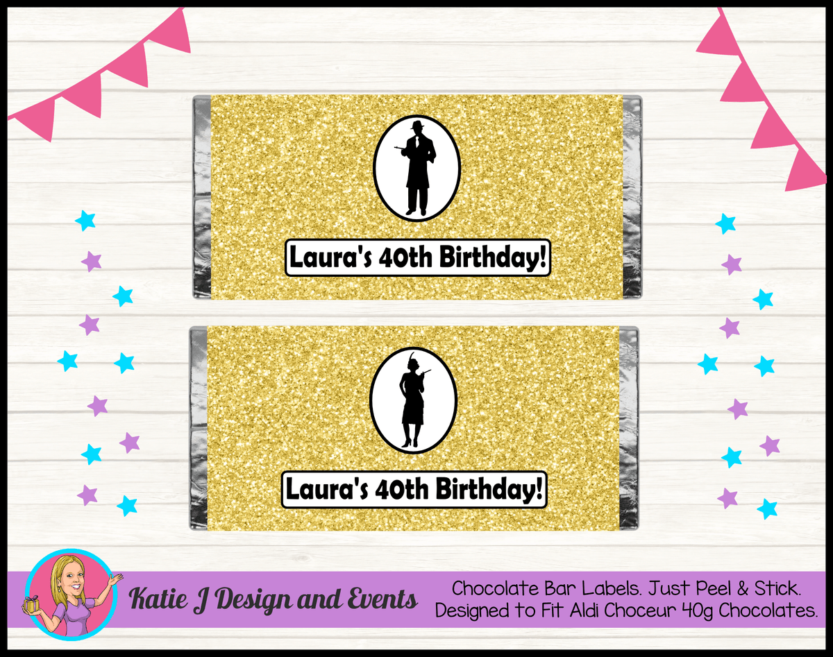 1920s Gangster Black Gold Personalised Birthday Party Mini Chocolate Labels Wrappers