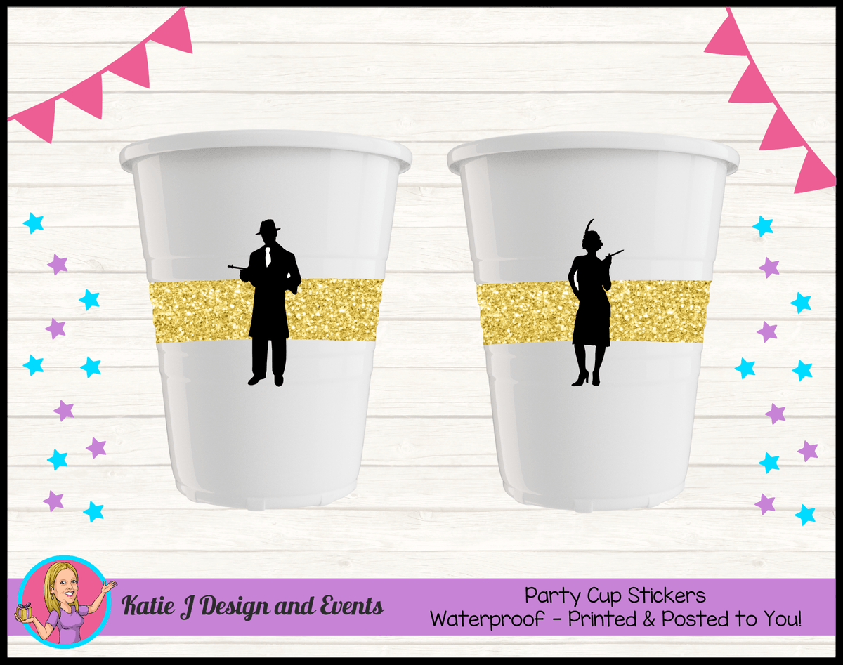 1920s Gangster Black Gold Personalised Birthday Party Cup Stickers Cups