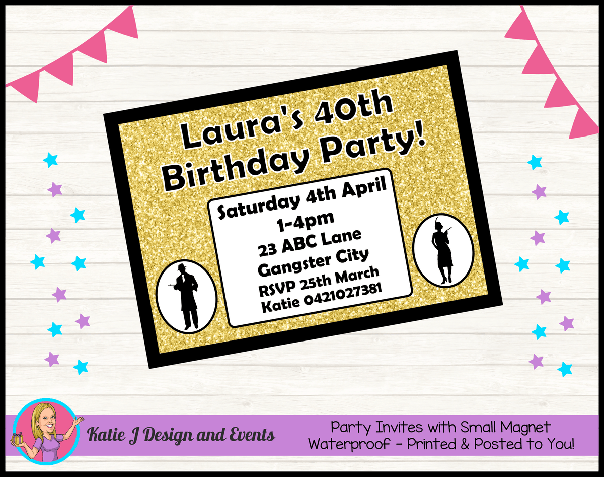 1920s Gangster Black Gold Personalised Birthday Party Invites Invitations