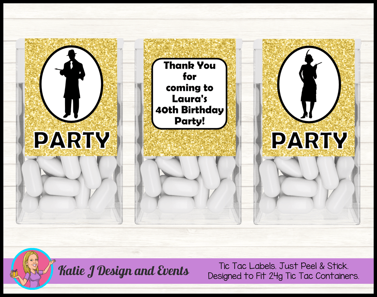 1920s Gangster Black Gold Personalised Birthday Party Tic Tacs Mint Labels Favours